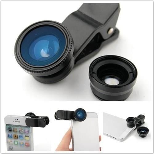 kit de lentes fish eye + macro + wide moto g2 g3 g5s