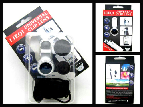 kit de lentes fish eye + macro + wide para iphone e outros