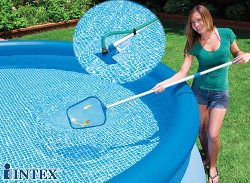 Kit de limpeza manuten o piscina intex aspirador peneira for Kit de piscina