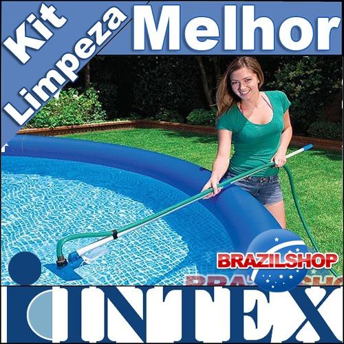 Kit de limpeza piscina aspirador e peneira intex mor for Lona piscina bestway