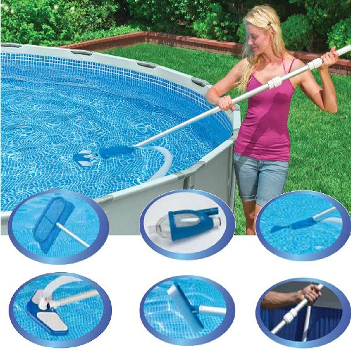 Kit de limpeza piscina deluxe aspirador escova vacuum intex r 249 99 em mercado livre - Aspiradora para piscina ...