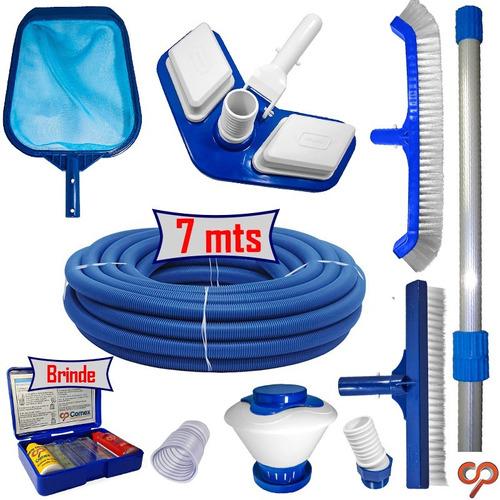 kit de limpeza piscina mangueira 7mts cabo 2mts aspirador