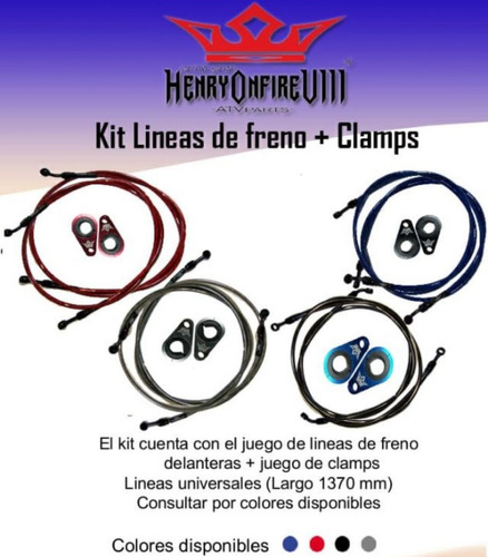 kit de linea de freno + clamp henryonfire yamaha raptor 700