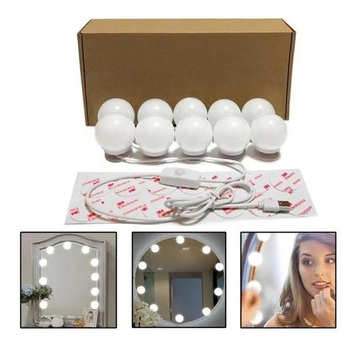 kit de luces led para espejo make up 10 bombillos de 3 tonos