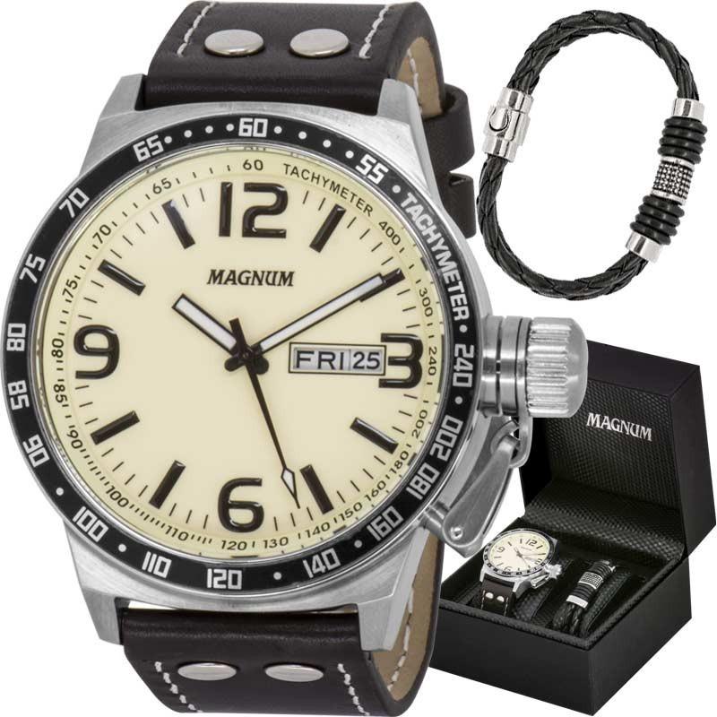 0011703ac12 kit de luxo relógio magnum masculino com pulseira ma31542u. Carregando zoom.