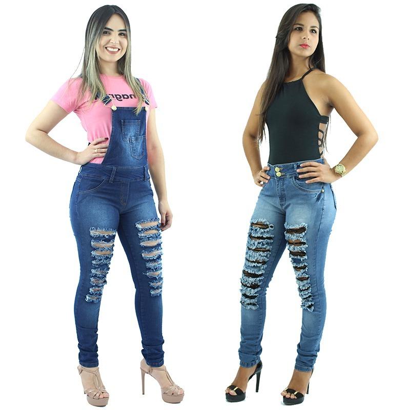 a77b21904 Kit De Macacão Feminino Jeans + Calça Feminina Jeans Rasgada - R ...