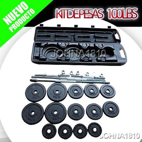 kit de mancuernas de 100lb pesas discos barra larga