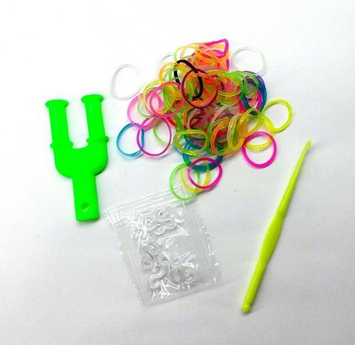 kit de manillas loom bands x200 unidades, aguja y telar en y