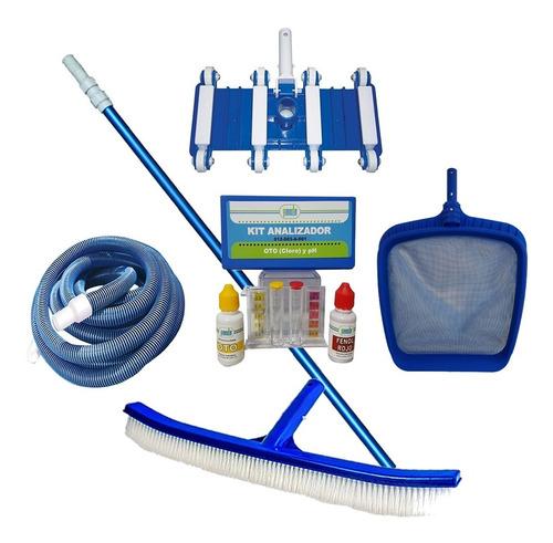 kit de mantenimiento para alberca 6pza maneral + barredora