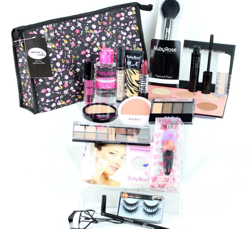 kit de maquiagem completo prof ruby rose avon maletas mania