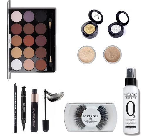 kit de maquiagem sombra rímel iluminadores demaquilante