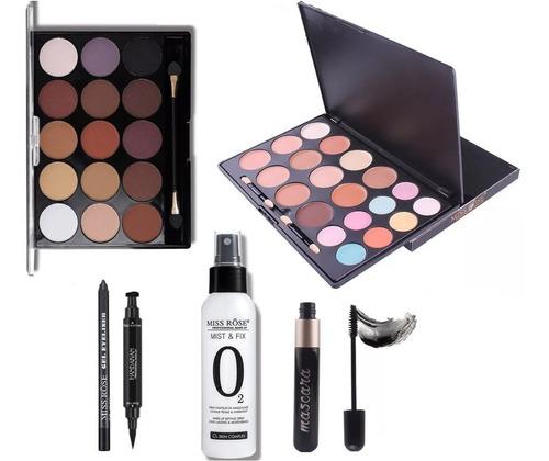 kit de maquiagem sombras base delineador rímel fixador