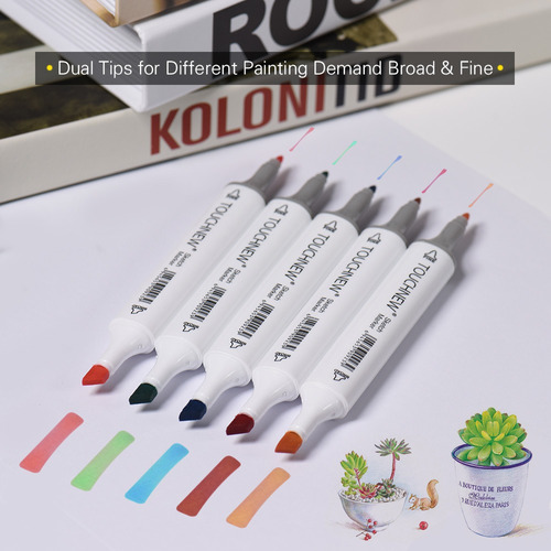 kit de marcadores de doble punta para arte, 60 colores