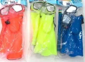 kit de mergulho infanti, pe de pato + snorkel + mascara