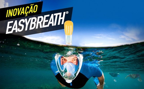 kit de mergulho - máscara aqua full face + nadadeira seasub