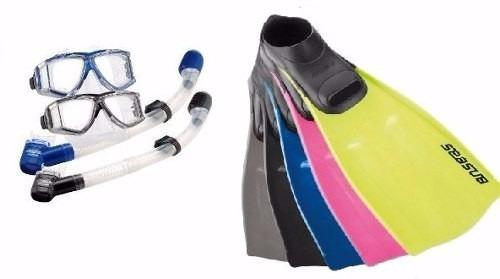 kit de mergulho nadadeira, mascara e snorkel dupla valvula