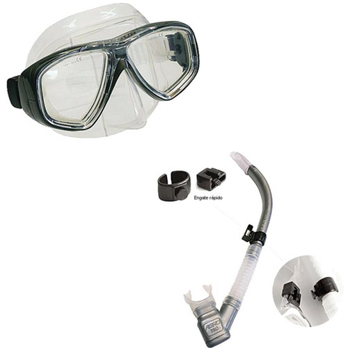 kit de mergulho seasub mascara silicone, snorkel e nadadeira