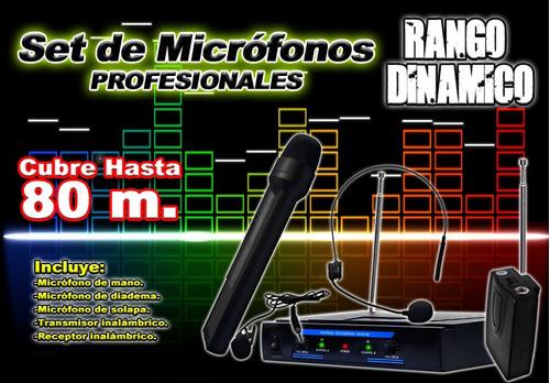 kit de microfonos de mano mas solapa mas diadema 80 mt xaris