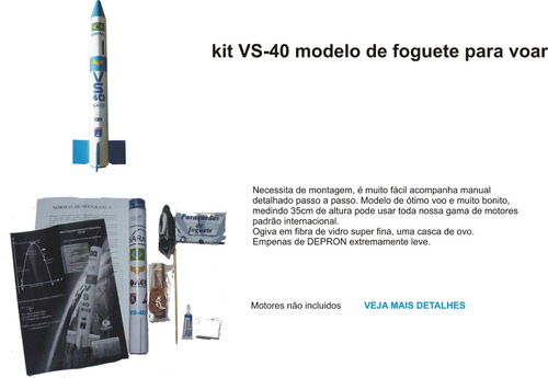 kit de mini foguete vs-40 espacial educativo espaçomodelismo