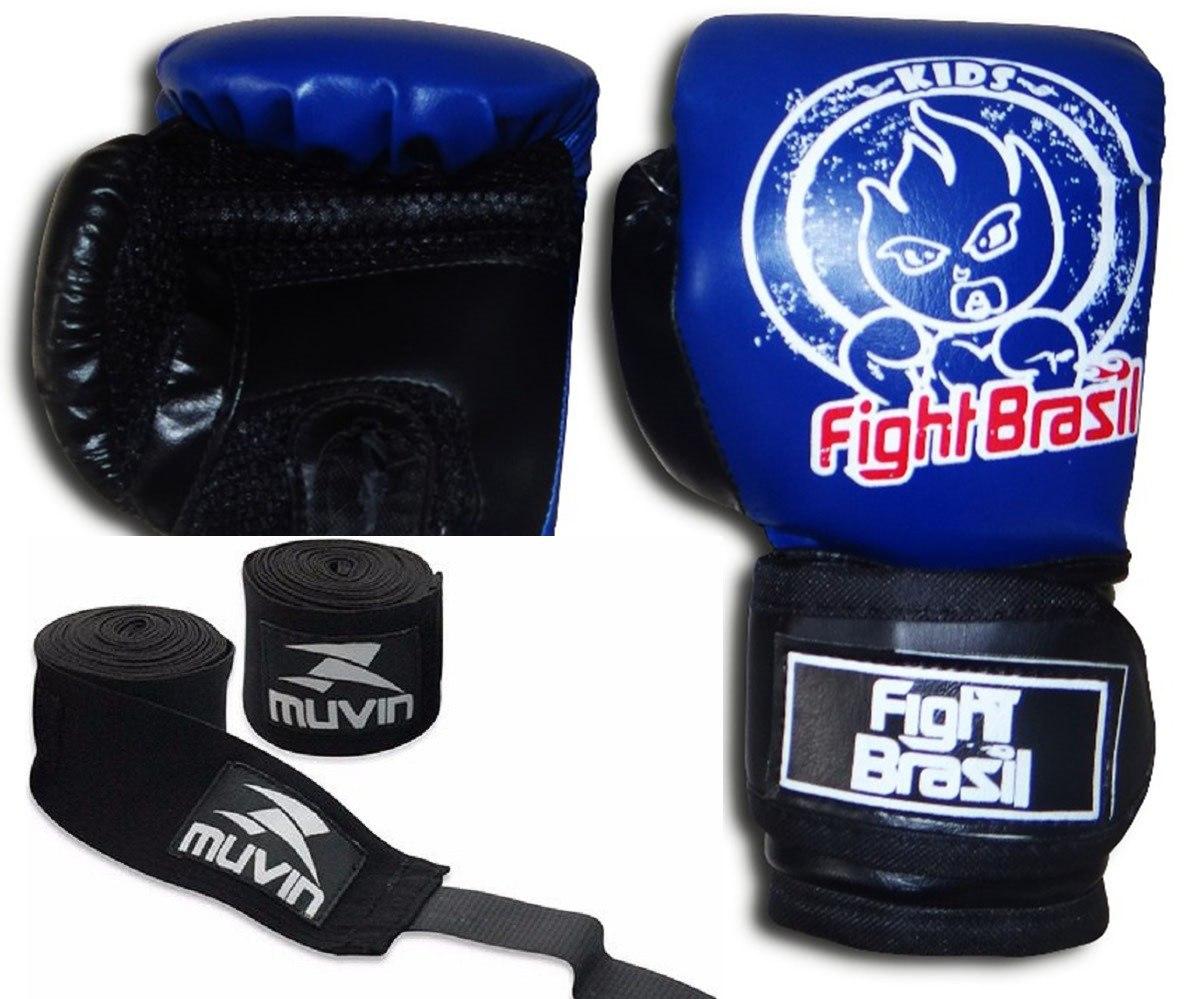 898ddc31a Kit De Muay Thai Boxe Luva Bandagens Infantil Crianças 4 Oz - R  114 ...