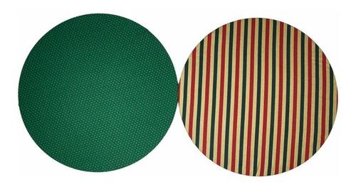 kit de natal com 6 capas dupla face + 6 mdf sousplat redondo