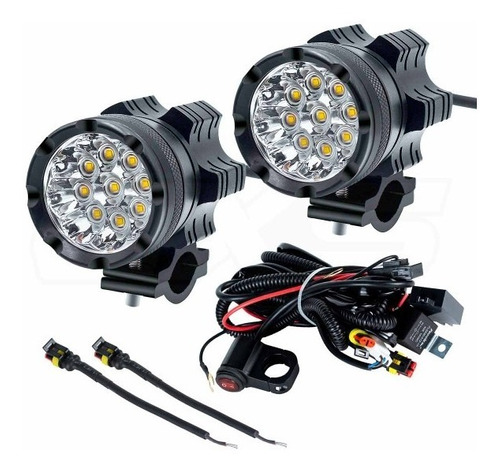 kit de neblineros 9 led para moto con base y kit de cables