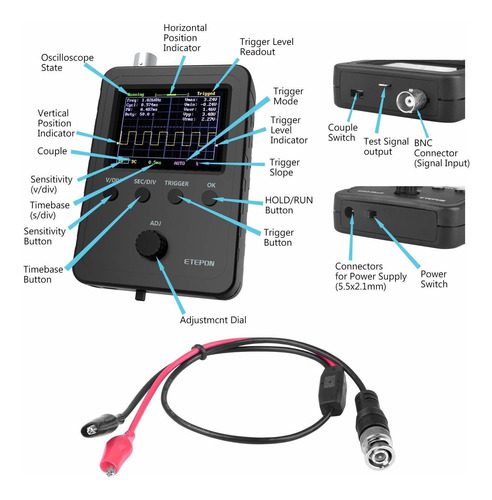 kit de osciloscopio digital con adaptador de cable de s...