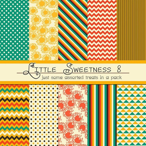 kit de papel digital amarillo verde rojo little sweetness 8