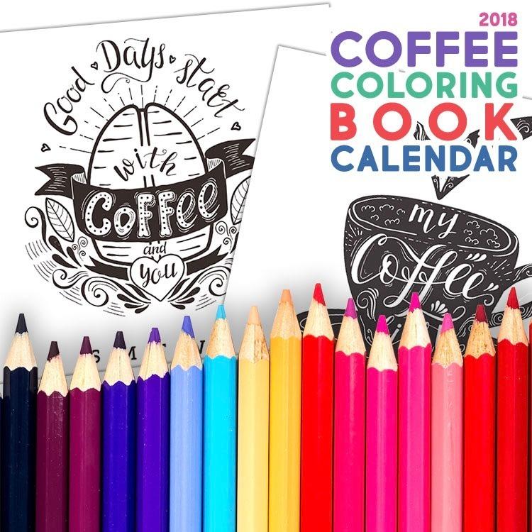 Kit De Papel Digital Calendario Café Para Colorear