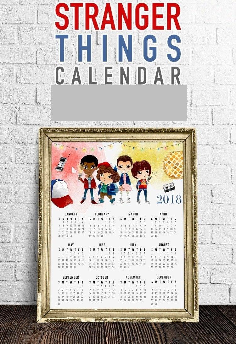 Calendario Stranger Things.Kit De Papel Digital Calendario Colgar Stranger Things 2018