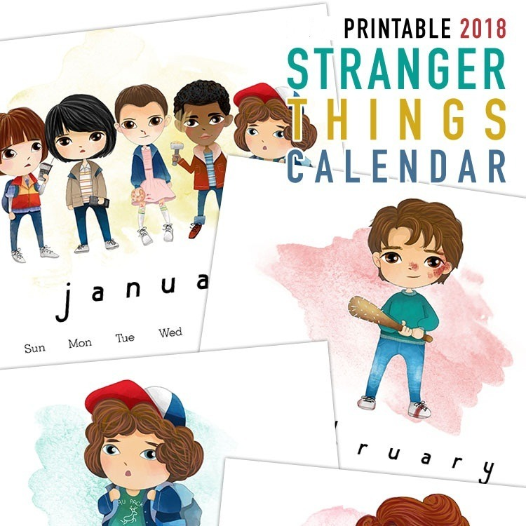 Calendario Stranger Things.Kit De Papel Digital Calendario Stranger Things 2018