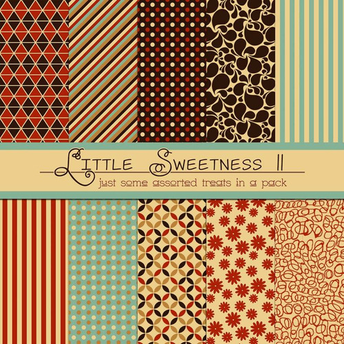 kit de papel digital rojo marron little sweetness