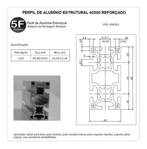 kit de perfil de alumínio 40 reforçado