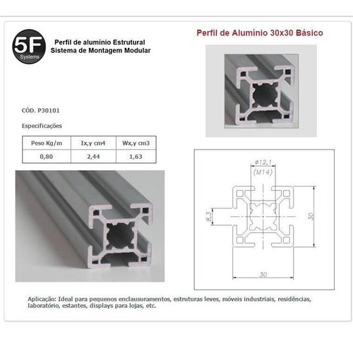 kit de perfil de alumínio estrutural base 30