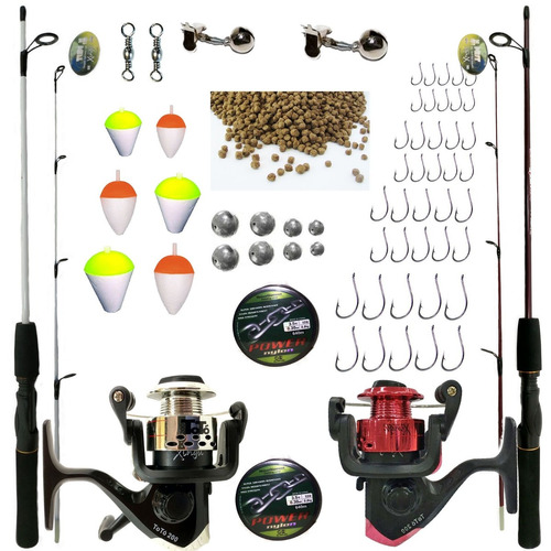 kit de pesca completo suporta 10kg 2 vara 2 molinete e itens