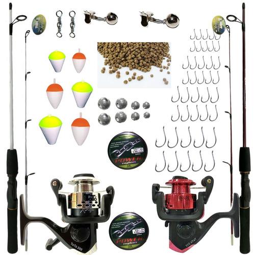 kit de pesca completo suporta 6kg 2 vara 2 molinete e itens