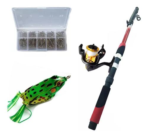 kit de pesca vara 2,10m molinete 3 rol caixa 50 anzois frog