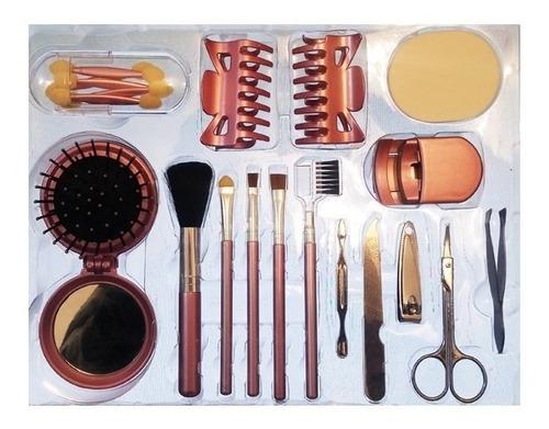 kit de pincéis maquiagem + manicure + espelho escova mu11102