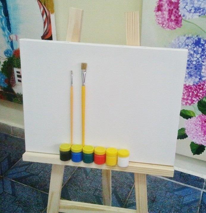 Kit de pintura infantil cavalete de mesa tela piceis - Pintura infantil pared ...