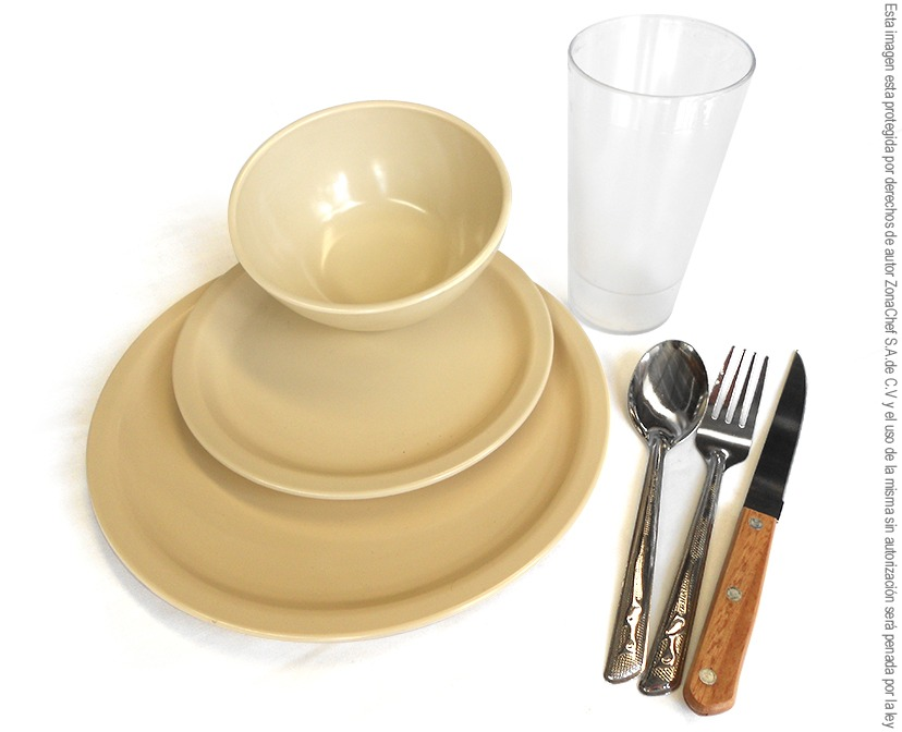 Kit de platos de melamina para comedor hasta 24 comensales for Platos para