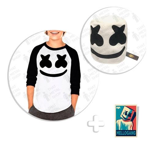 kit de playera raglan niño marshmello + peluche + sticker