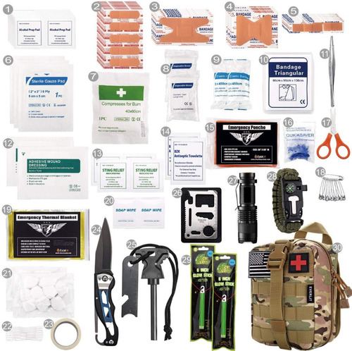 kit de primeiro socorros e sobrevivencia everlit 250 pcs