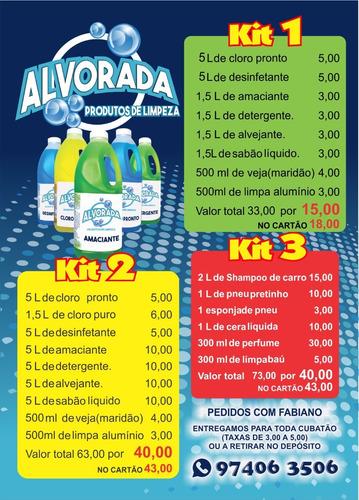 kit de produtos de limpeza em geral