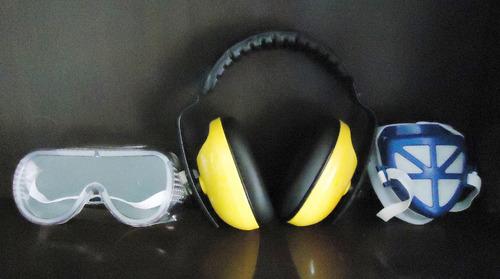 kit de protección lentes + audífonos + mascarilla seguridad