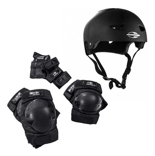 kit de proteção com capacete mormaii para skate e patins