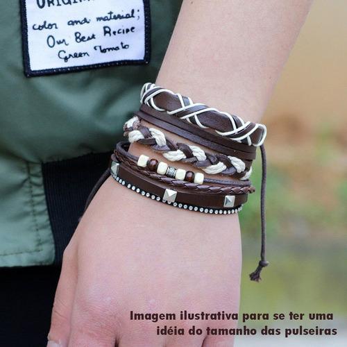 kit de pulseira bracelete masculina feminina 5 unidades
