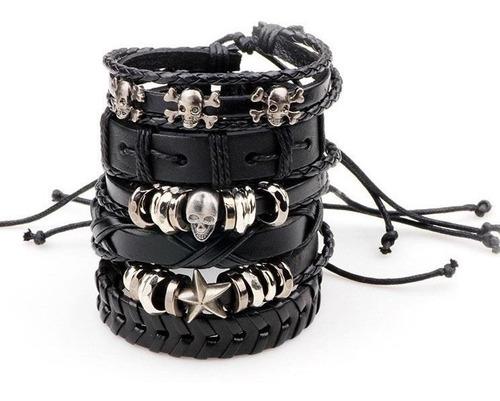 kit de pulseiras de couro caveira
