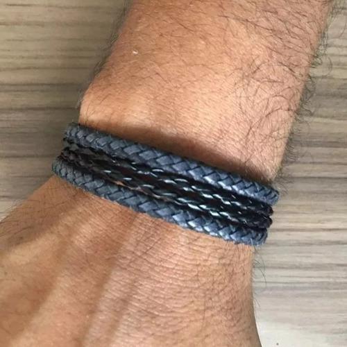 kit de pulseiras masculinas são bento hematita e couro