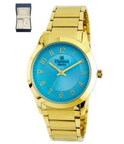 kit de relógio champion analógico feminino cn25109y dourado