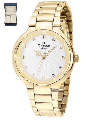 kit de relógio champion analógico feminino cn25234w dourado